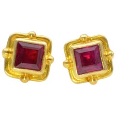 Ruby Earrings 18 Karat Yellow Gold