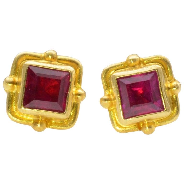 Ruby Earrings 18 Karat Yellow Gold For Sale
