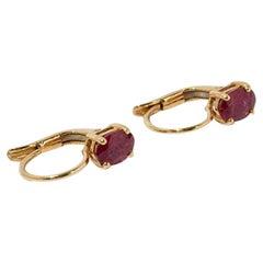Ruby Earrings, 750 Yellow Gold