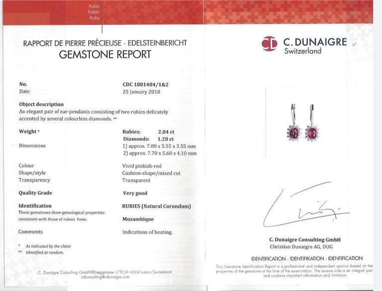 Modern Ruby Earrings C. Dunaigre Certified 2.84 Carats Cushion Cuts Diamonds White Gold For Sale
