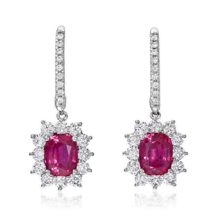 Ruby Earrings C. Dunaigre Certified 2.84 Carats Cushion Cuts Diamonds White Gold In New Condition For Sale In Beverly Hills, CA