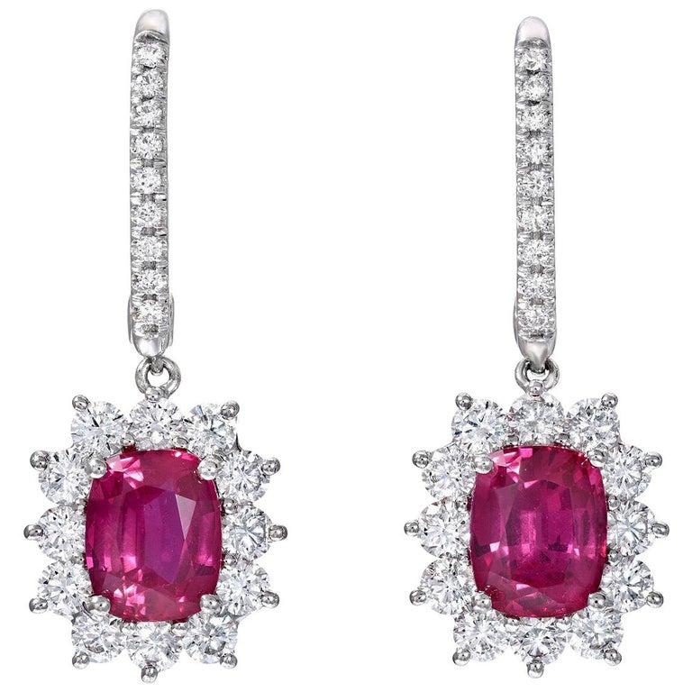 Ruby Earrings C. Dunaigre Certified 2.84 Carats Cushion Cuts Diamonds White Gold For Sale