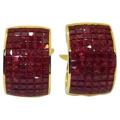 Ruby Earrings Set in 18 Karat Gold Settings