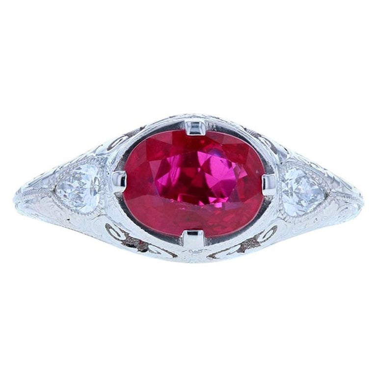 Ruby Edwardian Engagement Ring with Engraving and Pear Shaped Diamonds 'GIA' For Sale