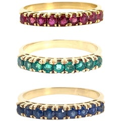 Ruby, Emerald and Blue Sapphire 18 Karat Band Rings Set of Three