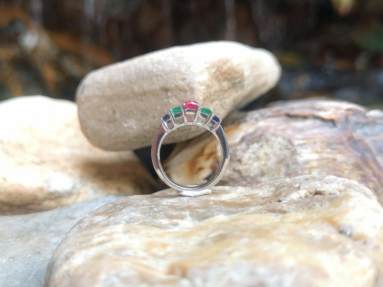 Ruby, Emerald and Blue Sapphire Ring Set in 18 Karat White Gold Settings For Sale 5