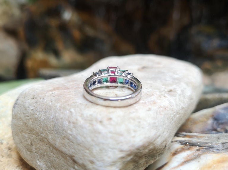Ruby, Emerald and Blue Sapphire Ring Set in 18 Karat White Gold Settings For Sale 6