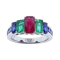 Ruby, Emerald and Blue Sapphire Ring Set in 18 Karat White Gold Settings