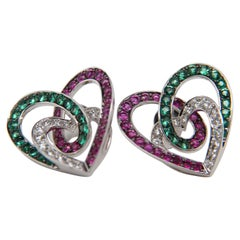Ruby, Emerald and Diamond 18 Karat Gold Earring