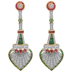 Ruby, Emerald and Diamond Art Deco Earrings, 18 Karat Gold