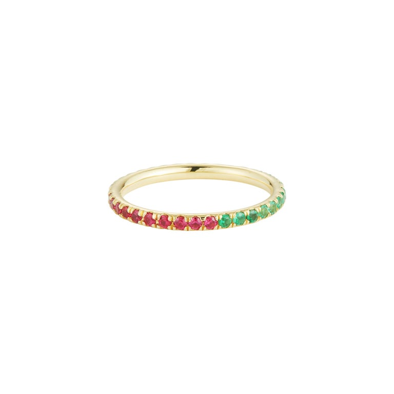 Ruby, emerald and yellow sapphire eternity band