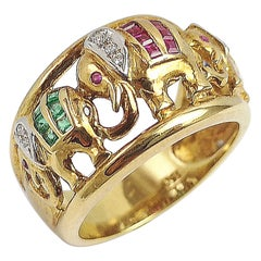 Ruby, Emerald, Blue Sapphire and Diamond Elephant Ring Set in 18 Karat Gold
