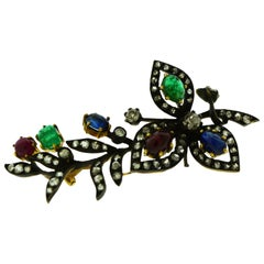 Ruby, Emerald, Blue Sapphire and Diamond Set in 18 Karat Gold Brooch