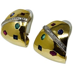 Ruby, Emerald, Blue Sapphire and Diamond Studs in 18 Karat Yellow Gold