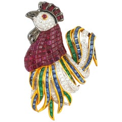 Ruby, Emerald, Blue Sapphire, Diamond Rooster Brooch Set in 18K