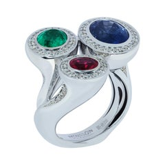 Ruby Emerald Blue Sapphire Diamonds 18 Karat White Gold Trio Ring