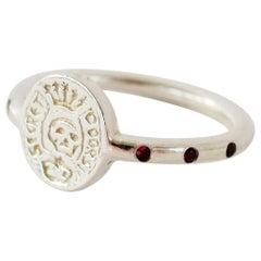Emerald Ruby Crest Signet Skull Ring Memento Mori Style Silver J Dauphin