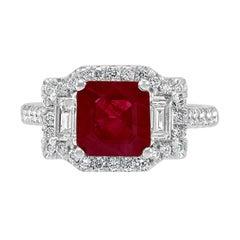 Ruby Emerald Cut Diamond Baguette Round Halo Three Stone Bridal 18K Gold Ring