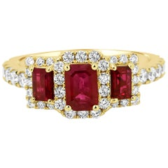 Ruby Emerald Cut Diamond Halo Three-Stone Bridal Fashion Cocktail Gold Ring