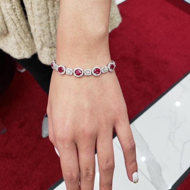 Women's Ruby Emerald Cut Diamonds White Gold Tennis Bracelet For Sale