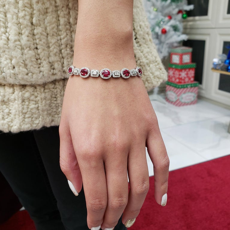 Ruby Emerald Cut Diamonds White Gold Tennis Bracelet For Sale 1
