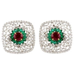 Ruby Emerald Diamond 18 Karat Gold Stud Earrings