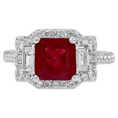 Ruby Emerald Diamond Halo White Gold Three-Stone Bridal Fashion Cocktail Ring