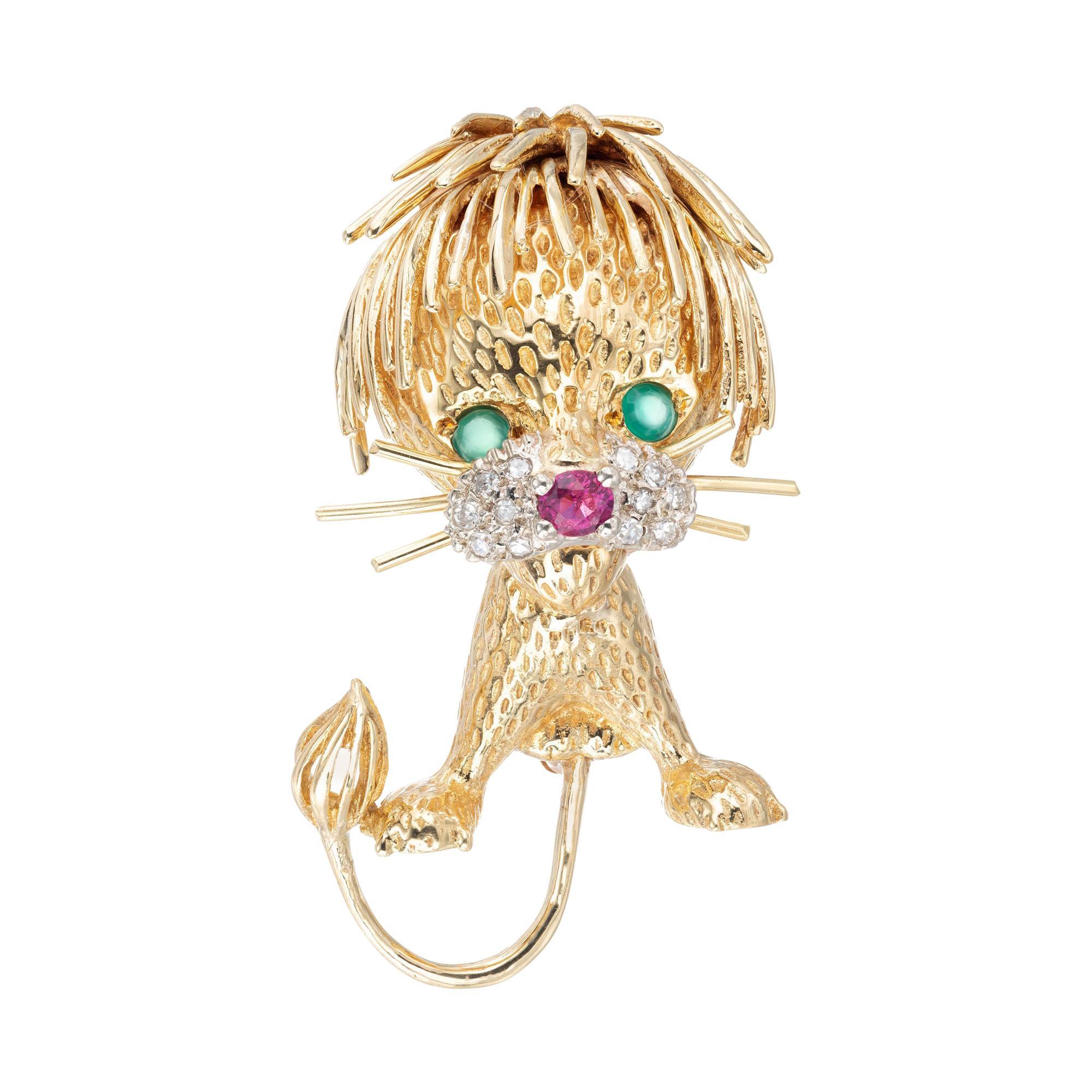 Ruby Emerald Diamond Lion Cub Brooch