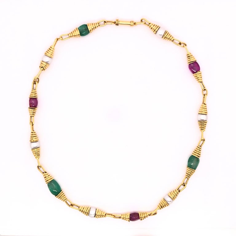 Modern Ruby Emerald Pearl Yellow Gold Necklace For Sale
