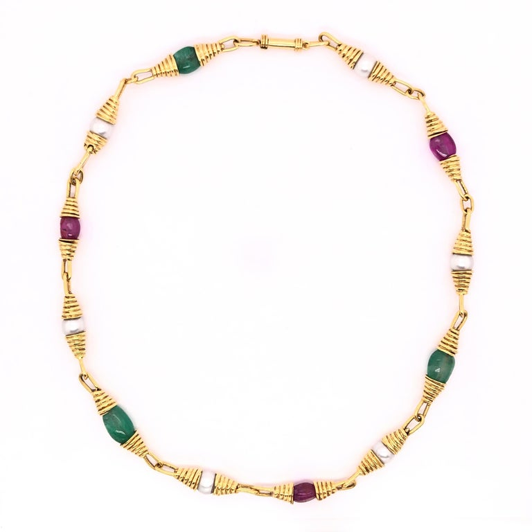 Ruby Emerald Pearl Yellow Gold Necklace In Good Condition For Sale In Dallas, TX
