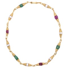 Ruby Emerald Pearl Yellow Gold Necklace