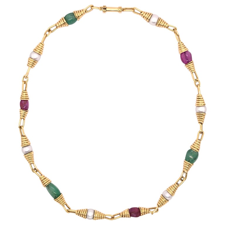 Ruby Emerald Pearl Yellow Gold Necklace For Sale