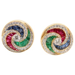 Ruby, Emerald, Sapphire and Diamond 18 Karat Gold Earring