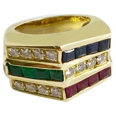 Ruby, Emerald, Sapphire, and Diamond Yellow Gold Ring