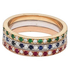 Ruby Emerald Sapphire Diamond 18Karat White Rose Yellow Gold Stackable Ring Band
