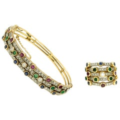Ruby Emerald Sapphire Diamond Harem Stacked Gold Ring and Bangle Bracelet Set