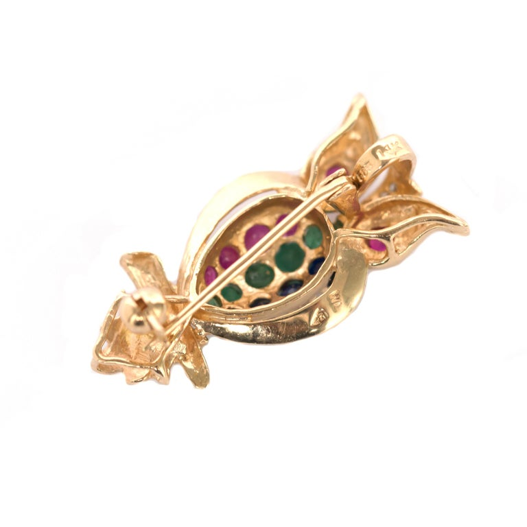 Retro Ruby, Emerald, Sapphire Yellow Gold Brooch For Sale