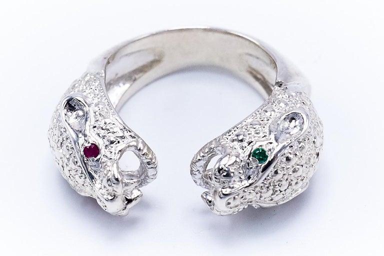 Pink Blue Tourmaline Ruby Dangling Statement Earring Snake Silver J Dauphin  2 Ruby 2 Emerald Silver Two head Jaguar Ring  J DAUPHIN