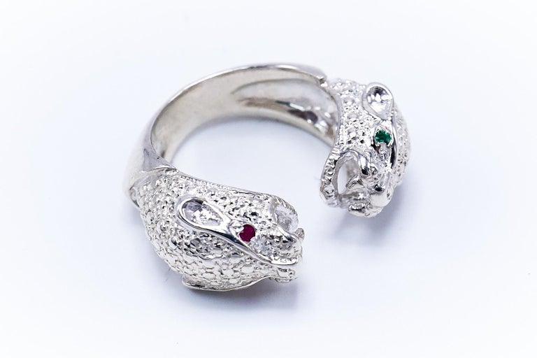 Contemporary Ruby Emerald Silver Double Head Jaguar Ring J Dauphin For Sale
