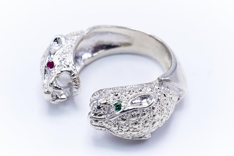 Emerald Cut Ruby Emerald Silver Double Head Jaguar Ring J Dauphin For Sale