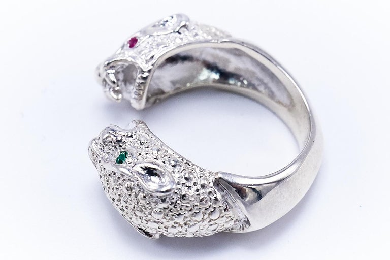 Ruby Emerald Silver Double Head Jaguar Ring J Dauphin In New Condition For Sale In Los Angeles, CA