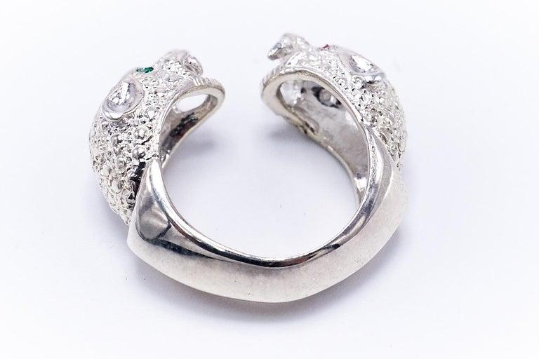 Women's Ruby Emerald Silver Double Head Jaguar Ring J Dauphin For Sale
