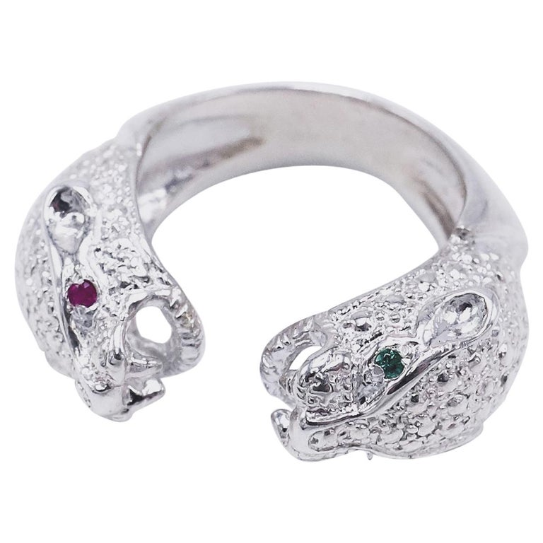 Ruby Emerald Silver Double Head Jaguar Ring J Dauphin For Sale