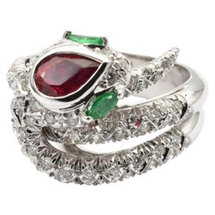 Ruby, Emeralds and Diamonds White Gold Snake Ring Made in Italy