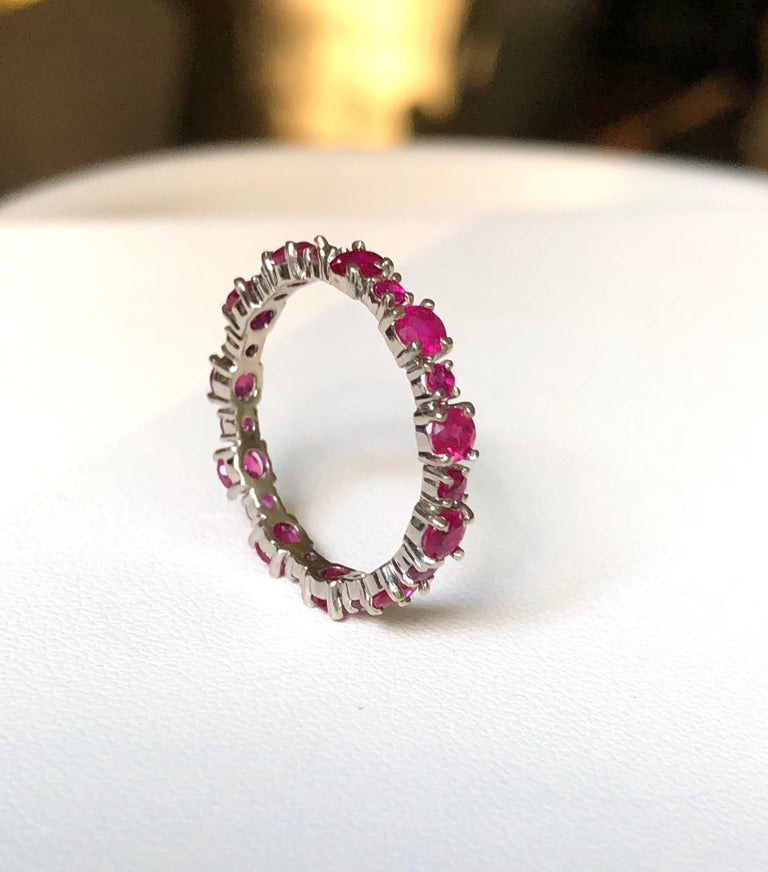 Contemporary Ruby Engagement Eternity White Gold Band Ring For Sale