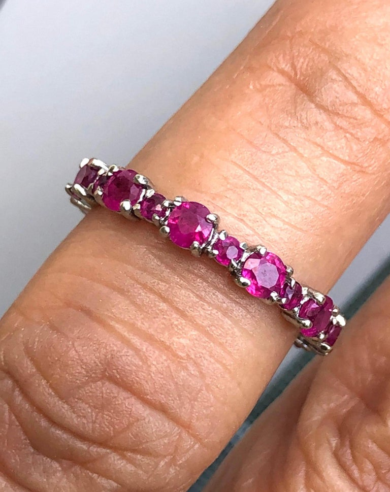 Women's Ruby Engagement Eternity White Gold Band Ring For Sale