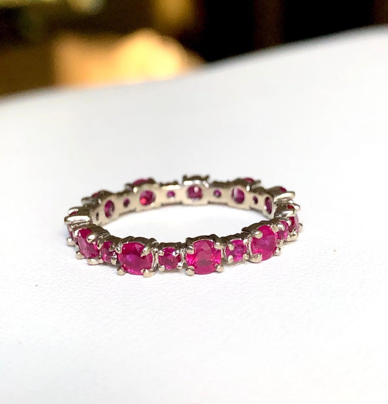 Ruby Engagement Eternity White Gold Band Ring For Sale 4