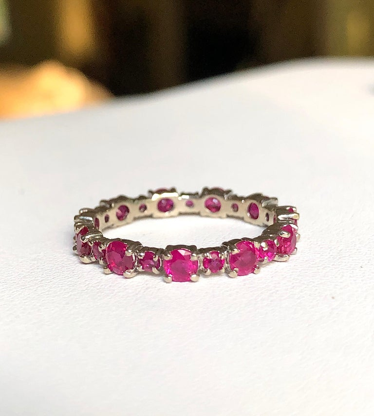 Ruby Engagement Eternity White Gold Band Ring For Sale 5