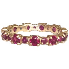 Ruby Engagement Eternity Yellow Gold Band Ring
