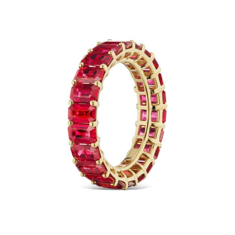 Octagon Cut Ruby Eternity Band In 18K Yellow Gold By RayazTakat For Sale